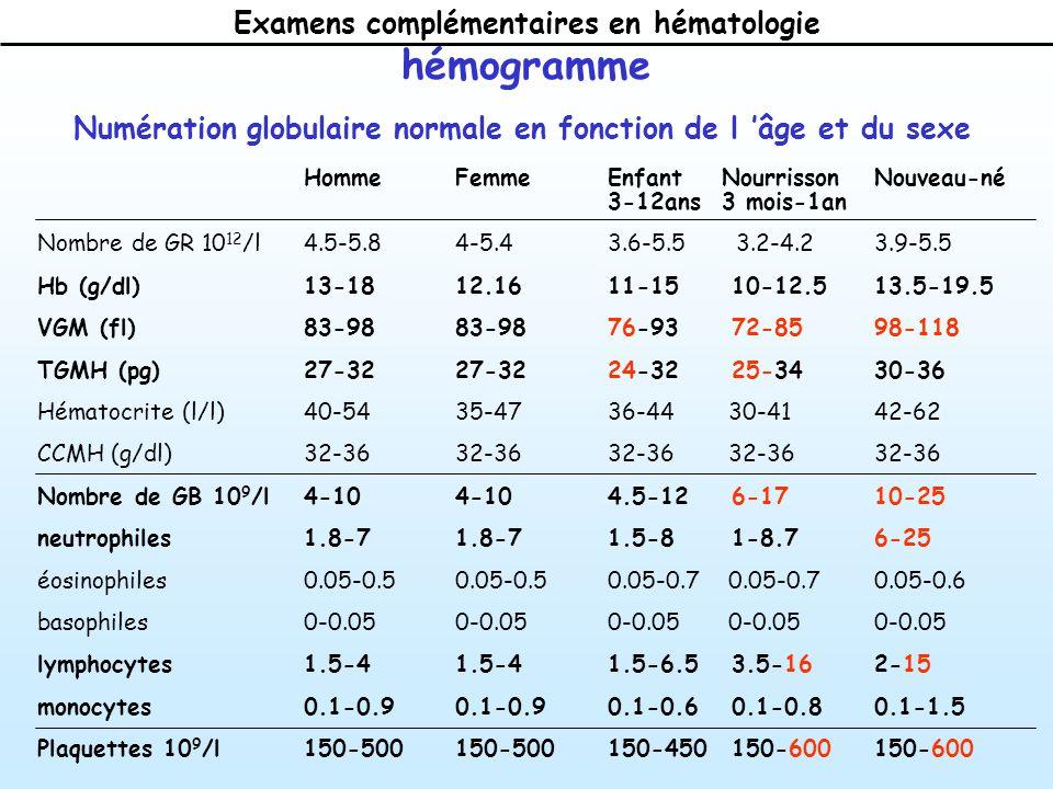 hémogramme Examens complémentaires en hématologie