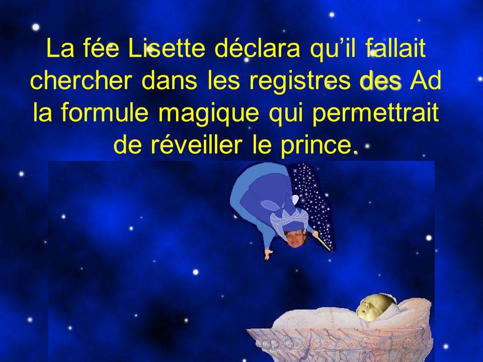 La fée Lisette déclara qu'il fallait chercher dans les registres des Ad la formule magique qui permettrait de réveiller le prince.