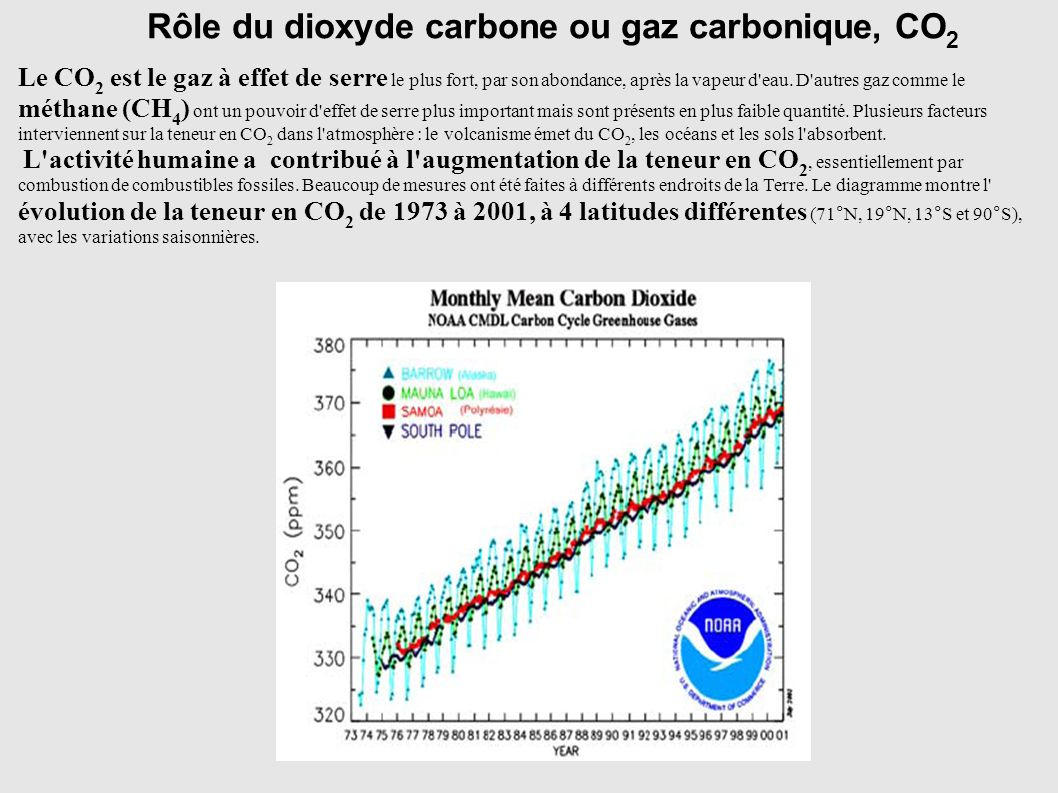 Rôle du dioxyde carbone ou gaz carbonique, CO2