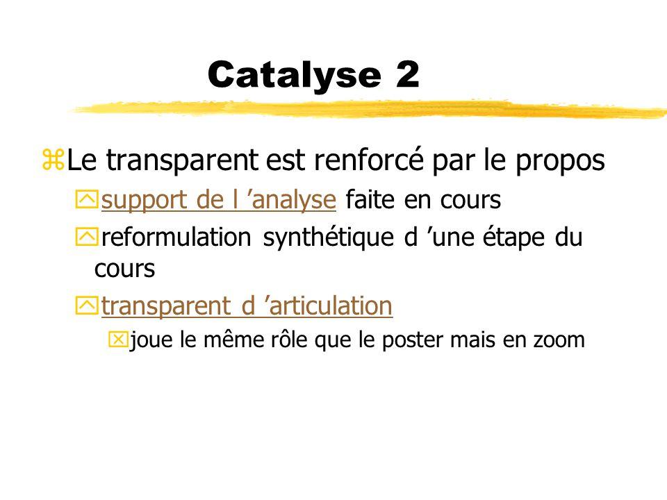 Catalyse 2 Le transparent est renforcé par le propos
