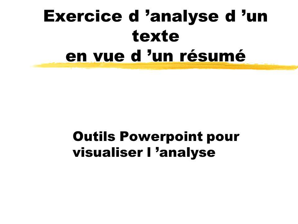 Exercice d 'analyse d 'un texte en vue d 'un résumé