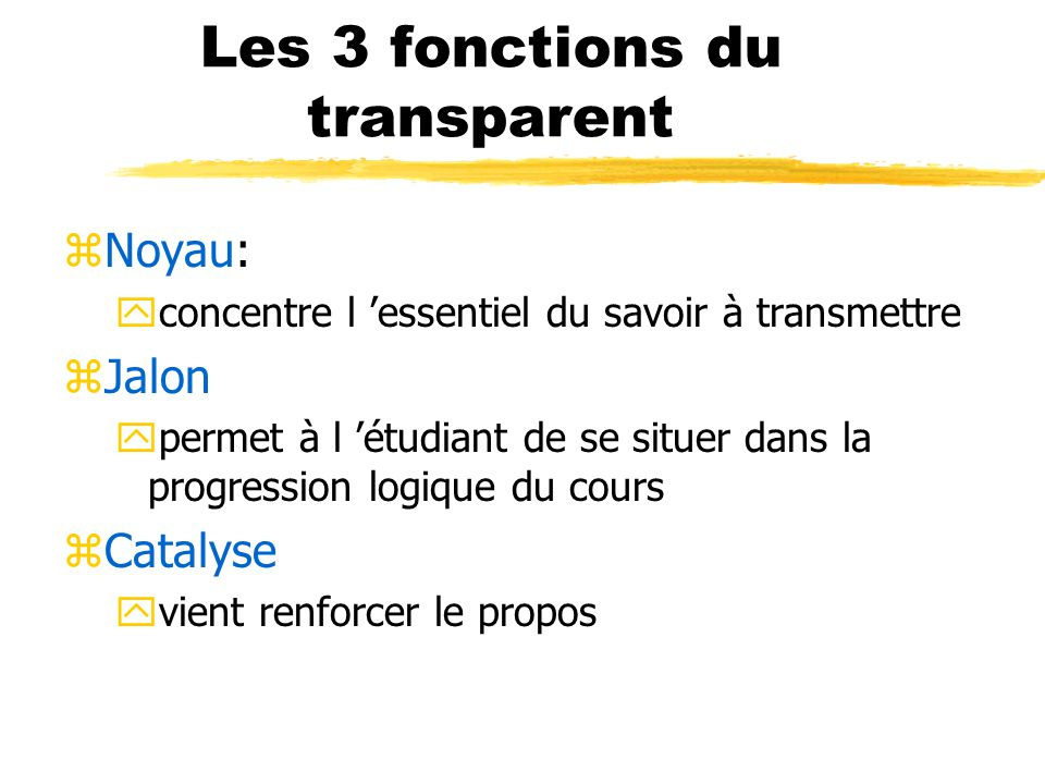 Les 3 fonctions du transparent