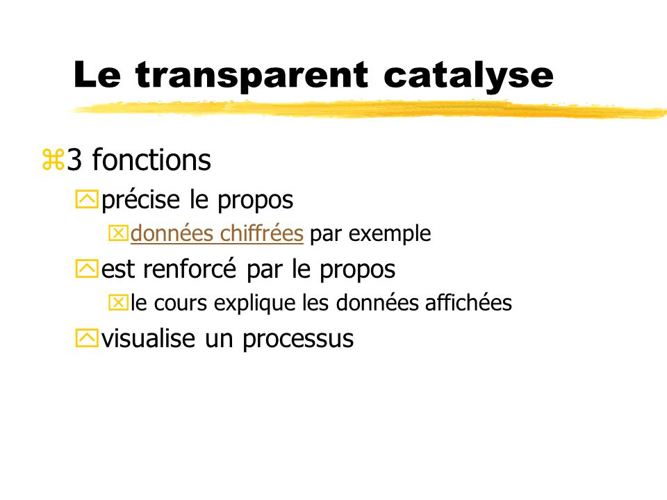 Le transparent catalyse
