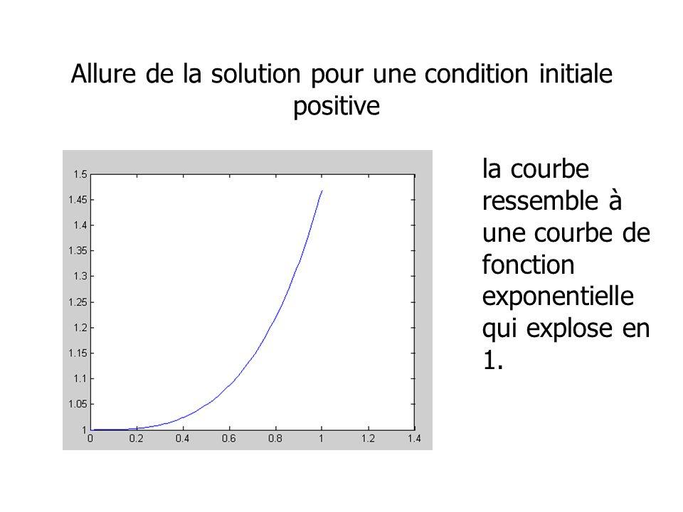 Allure de la solution pour une condition initiale positive