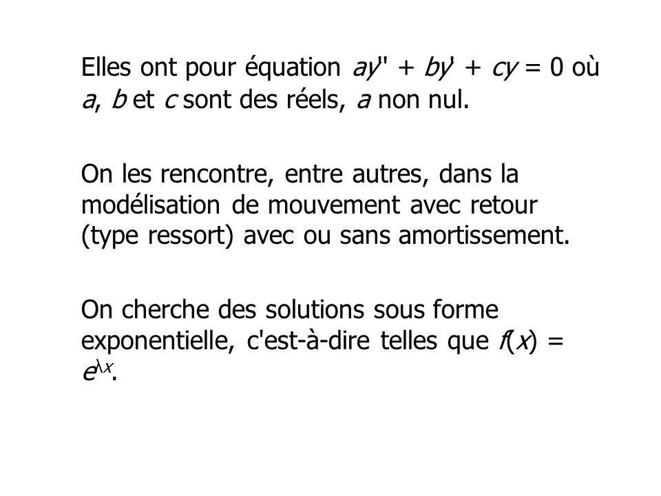 Elles ont pour équation ay + by + cy = 0 où a, b et c sont des réels, a non nul.