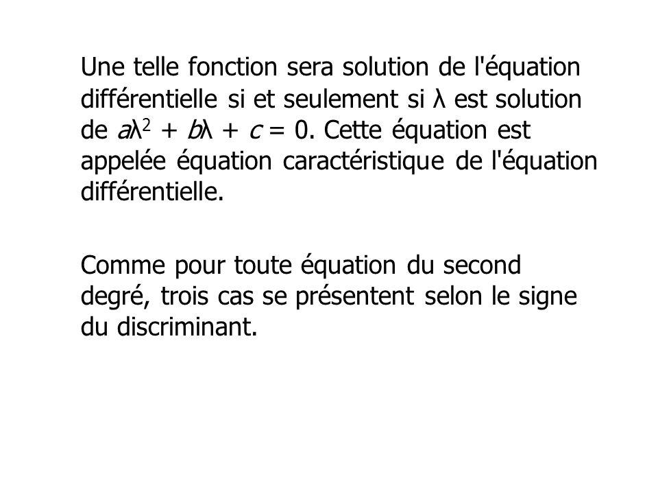 Une telle fonction sera solution de l équation différentielle si et seulement si λ est solution de aλ2 + bλ + c = 0. Cette équation est appelée équation caractéristique de l équation différentielle.