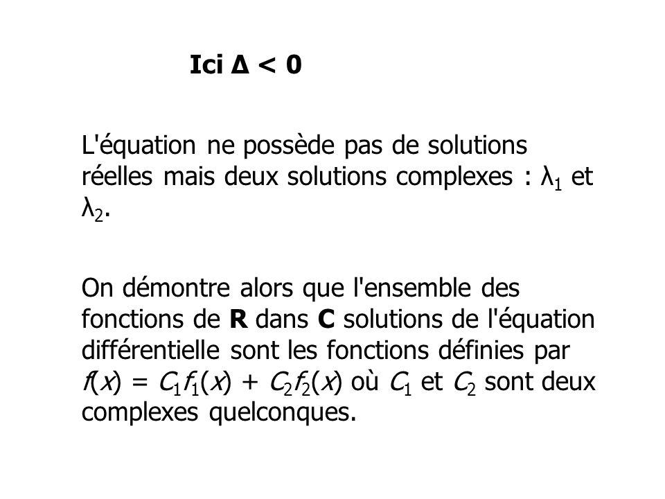 Ici Δ < 0 L équation ne possède pas de solutions réelles mais deux solutions complexes : λ1 et λ2.