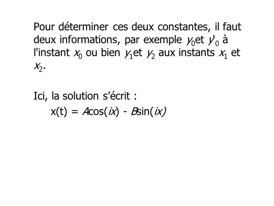 Pour déterminer ces deux constantes, il faut deux informations, par exemple y0et y 0 à l instant x0 ou bien y1et y2 aux instants x1 et x2.