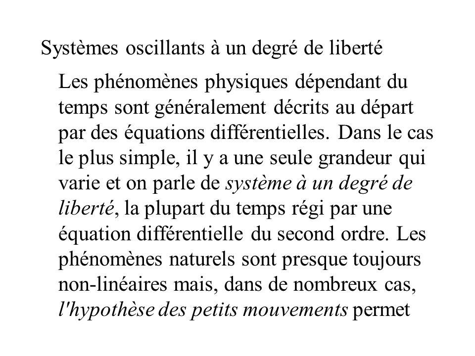 Systèmes oscillants à un degré de liberté Les phénomènes physiques dépendant du temps sont généralement décrits au départ par des équations différentielles.
