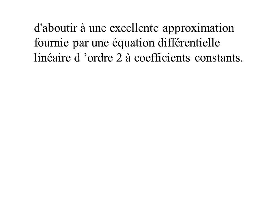 d aboutir à une excellente approximation fournie par une équation différentielle linéaire d 'ordre 2 à coefficients constants.