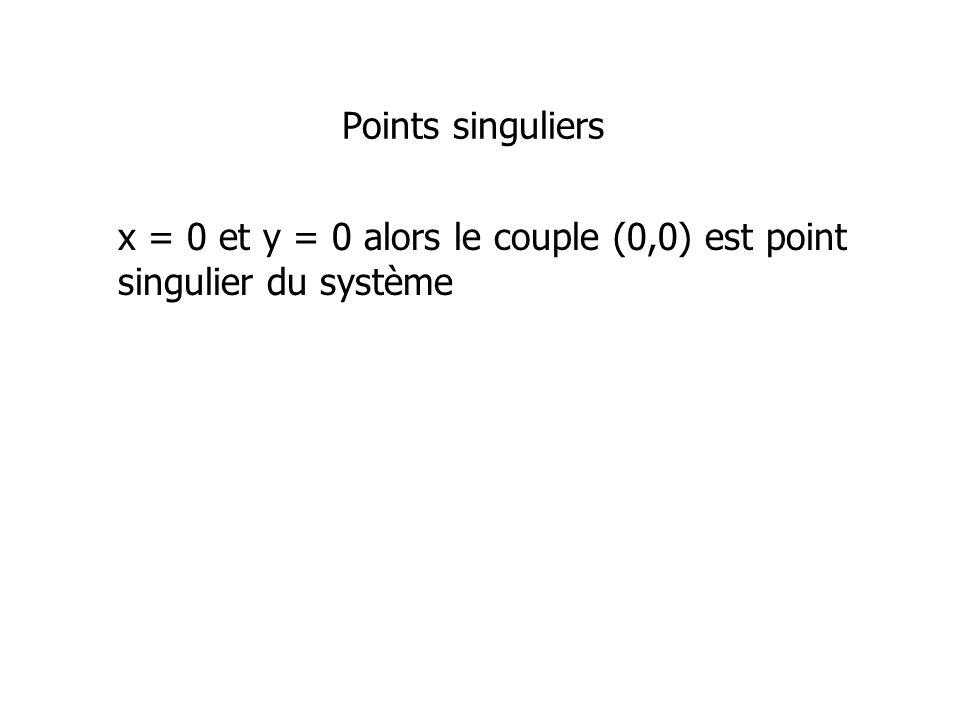Points singuliers x = 0 et y = 0 alors le couple (0,0) est point singulier du système