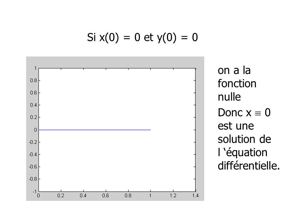 Si x(0) = 0 et y(0) = 0 on a la fonction nulle.