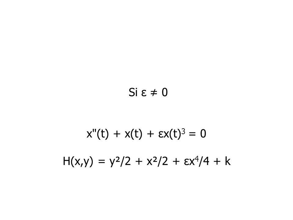 x (t) + x(t) + εx(t)3 = 0 H(x,y) = y²/2 + x²/2 + εx4/4 + k