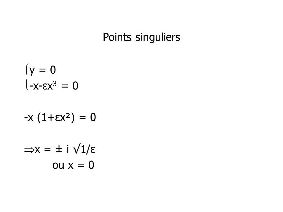 Points singuliers y = 0 -x-εx3 = 0 -x (1+εx²) = 0 x = ± i √1/ε ou x = 0