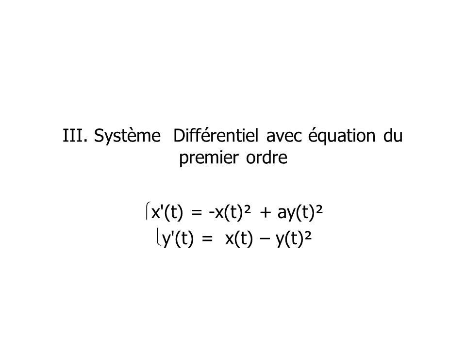 III. Système Différentiel avec équation du premier ordre