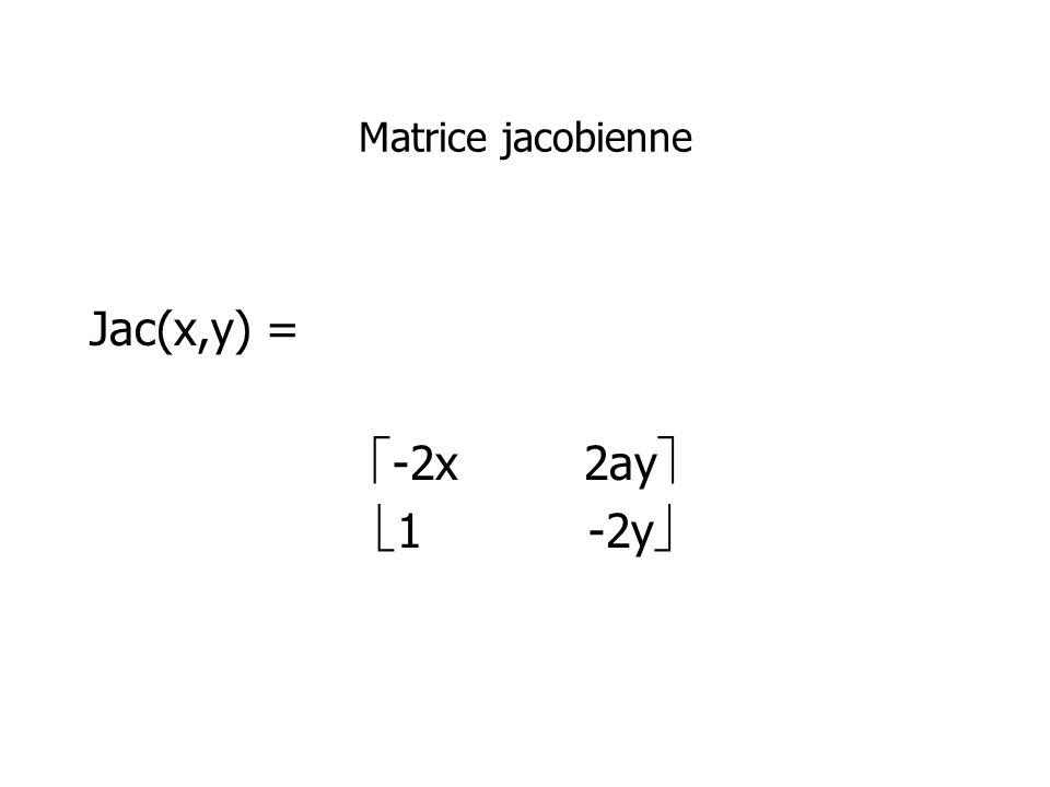 Matrice jacobienne Jac(x,y) = -2x 2ay 1 -2y