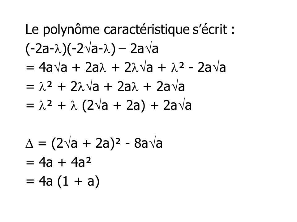 Le polynôme caractéristique s'écrit : (-2a-)(-2a-) – 2aa = 4aa + 2a + 2a + ² - 2aa = ² + 2a + 2a + 2aa = ² +  (2a + 2a) + 2aa  = (2a + 2a)² - 8aa = 4a + 4a² = 4a (1 + a)