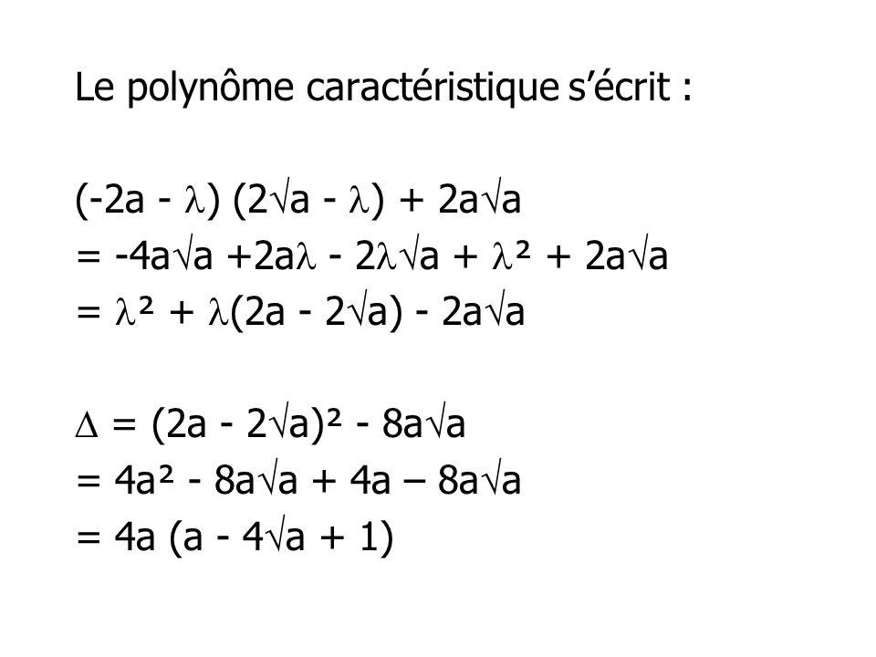 Le polynôme caractéristique s'écrit : (-2a - ) (2a - ) + 2aa = -4aa +2a - 2a + ² + 2aa = ² + (2a - 2a) - 2aa  = (2a - 2a)² - 8aa = 4a² - 8aa + 4a – 8aa = 4a (a - 4a + 1)