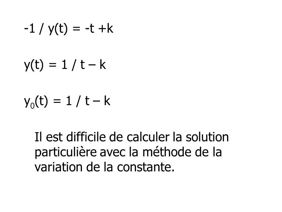 -1 / y(t) = -t +k y(t) = 1 / t – k. y0(t) = 1 / t – k.