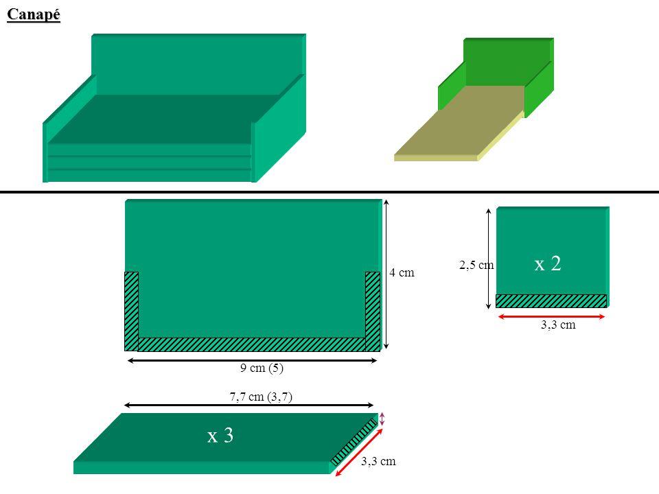Canapé x 2 2,5 cm 4 cm 3,3 cm 9 cm (5) 7,7 cm (3,7) x 3 3,3 cm