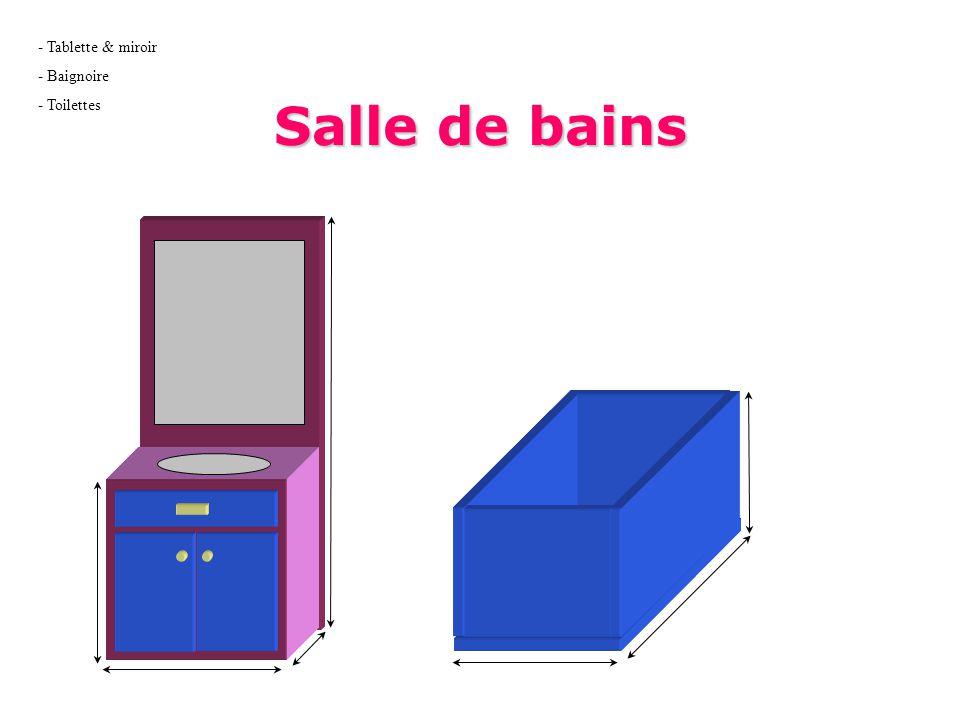Tablette & miroir Baignoire Toilettes Salle de bains