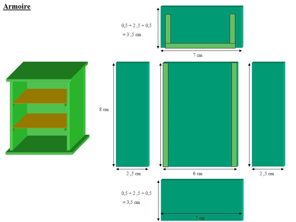 Armoire 0,5 + 2 ,5 + 0,5 = 3 ,5 cm 7 cm 8 cm 2 ,5 cm 6 cm 2 ,5 cm