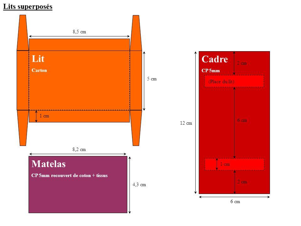 Lit Cadre Matelas Lits superposés 8,5 cm Carton CP 5mm 2 cm 5 cm
