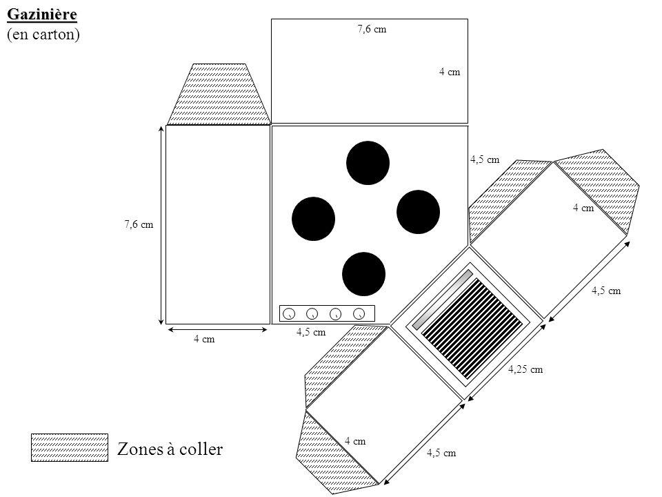 Zones à coller Gazinière (en carton) 7,6 cm 4 cm 4,5 cm 4 cm 7,6 cm