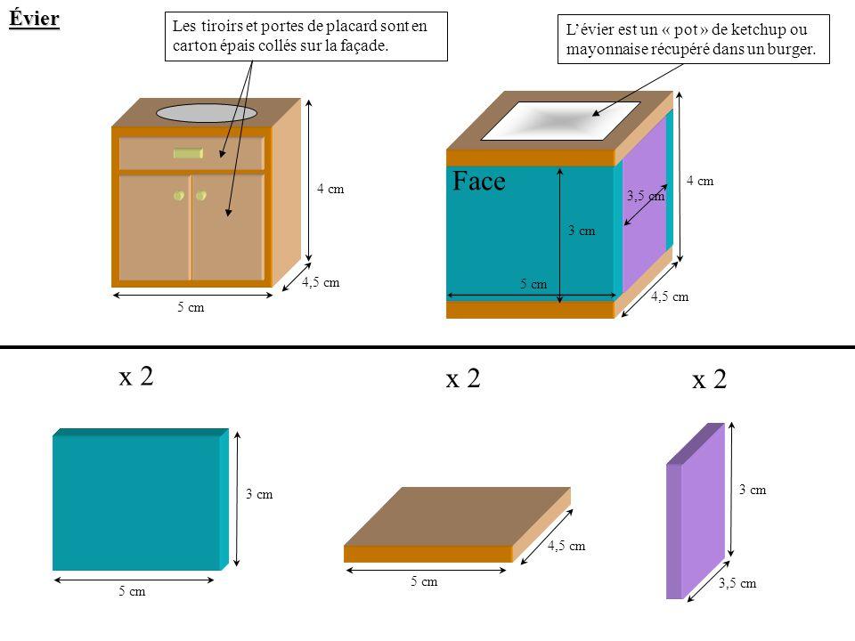 Évier Les tiroirs et portes de placard sont en carton épais collés sur la façade.