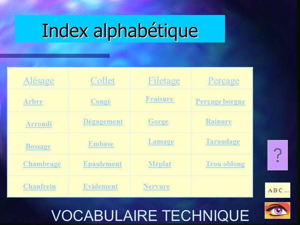 Index alphabétique VOCABULAIRE TECHNIQUE Alésage Collet Filetage