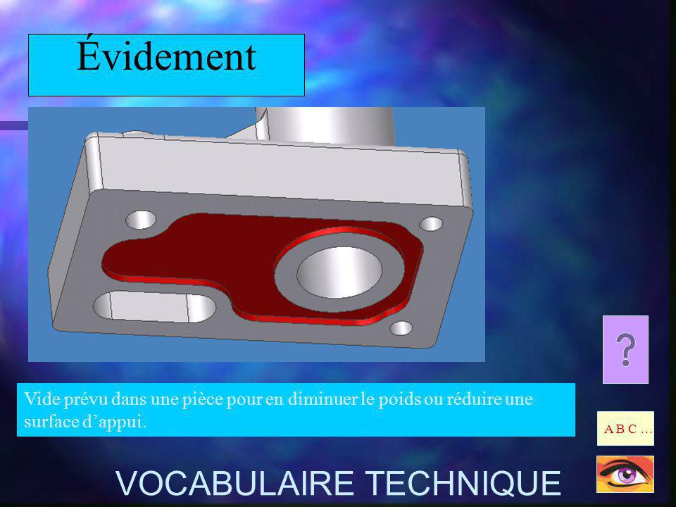 Évidement VOCABULAIRE TECHNIQUE