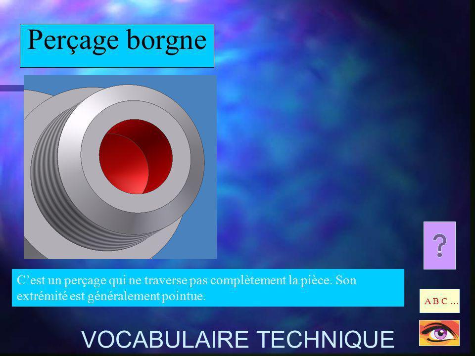 Perçage borgne VOCABULAIRE TECHNIQUE