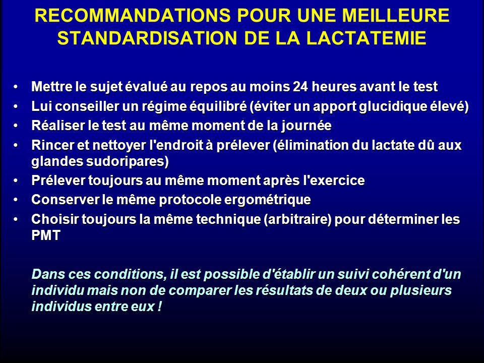RECOMMANDATIONS POUR UNE MEILLEURE STANDARDISATION DE LA LACTATEMIE