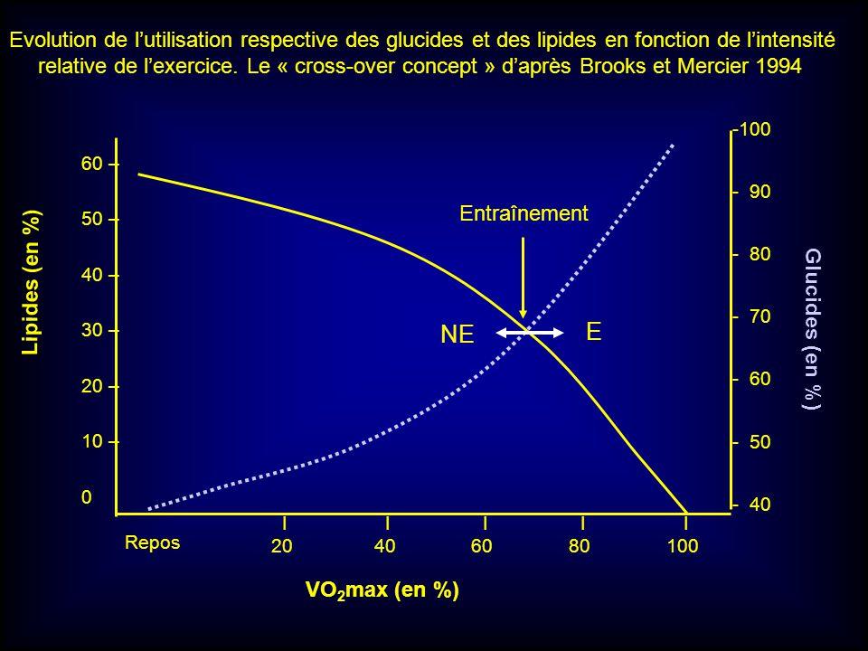 Evolution de l'utilisation respective des glucides et des lipides en fonction de l'intensité