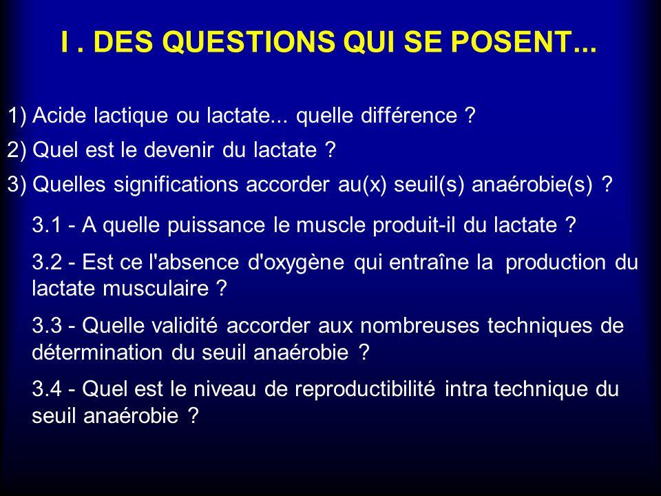 I . DES QUESTIONS QUI SE POSENT...