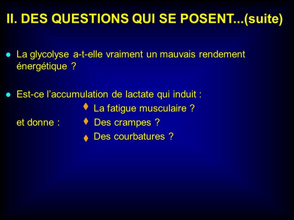 II. DES QUESTIONS QUI SE POSENT...(suite)