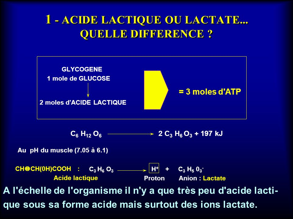1 - ACIDE LACTIQUE OU LACTATE... QUELLE DIFFERENCE