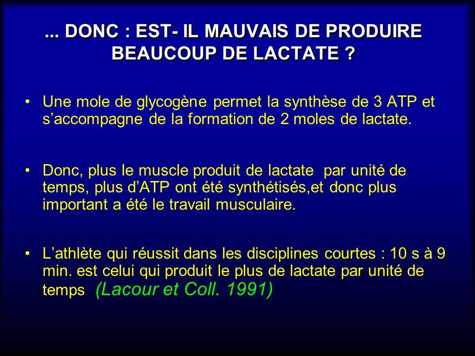 ... DONC : EST- IL MAUVAIS DE PRODUIRE BEAUCOUP DE LACTATE