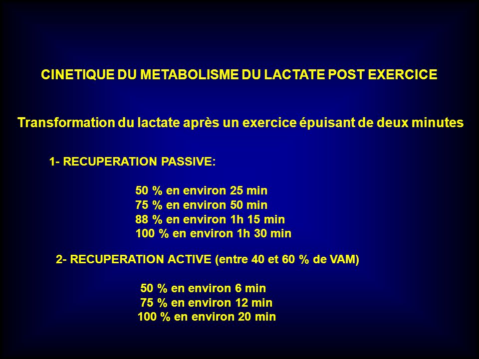 CINETIQUE DU METABOLISME DU LACTATE POST EXERCICE