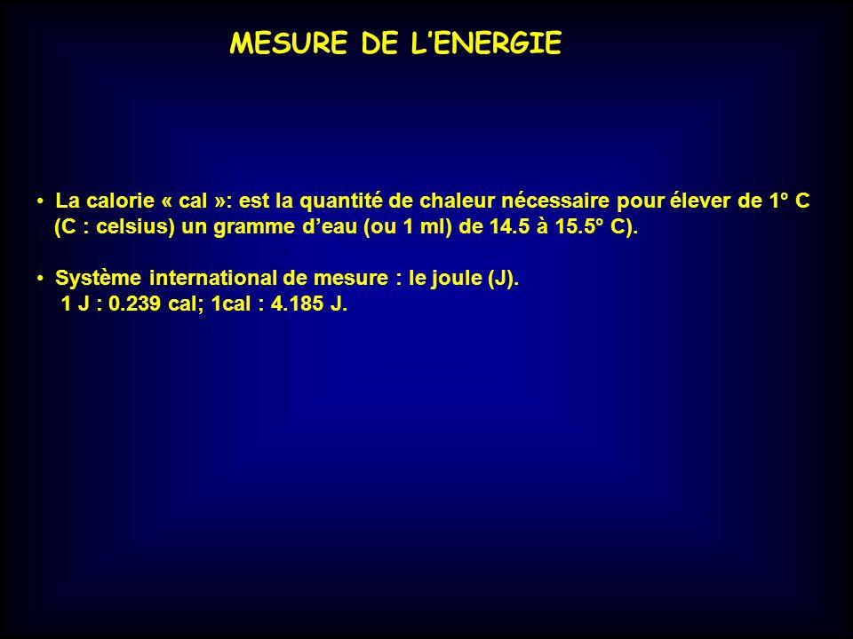 MESURE DE L'ENERGIE La calorie « cal »: est la quantité de chaleur nécessaire pour élever de 1° C.
