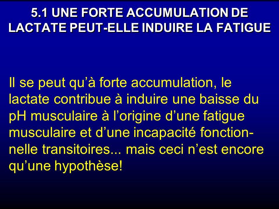 5.1 UNE FORTE ACCUMULATION DE LACTATE PEUT-ELLE INDUIRE LA FATIGUE