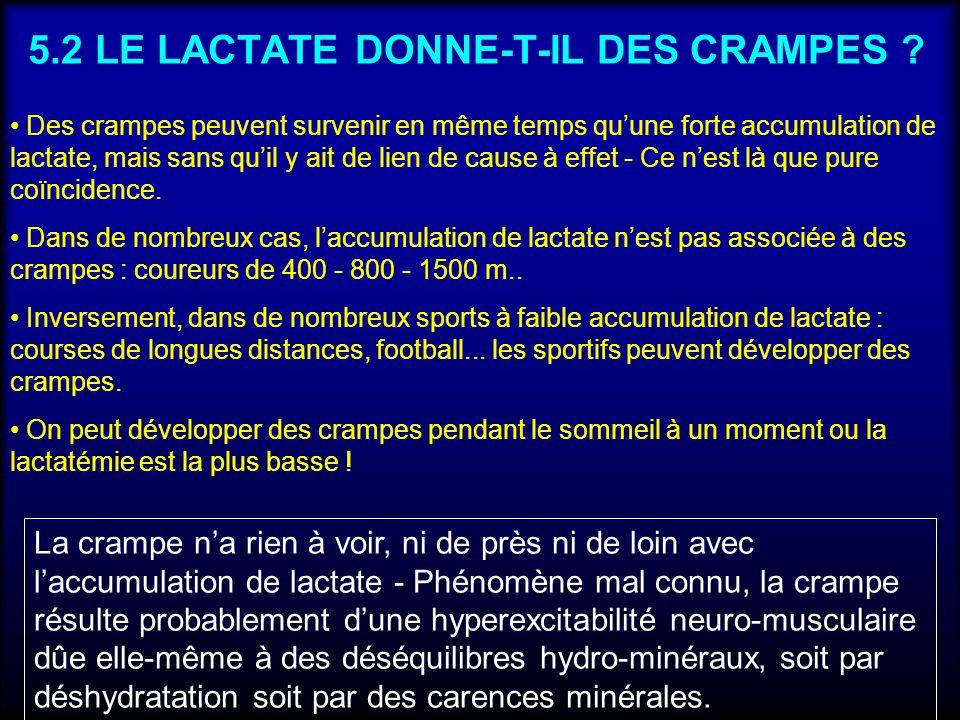 5.2 LE LACTATE DONNE-T-IL DES CRAMPES