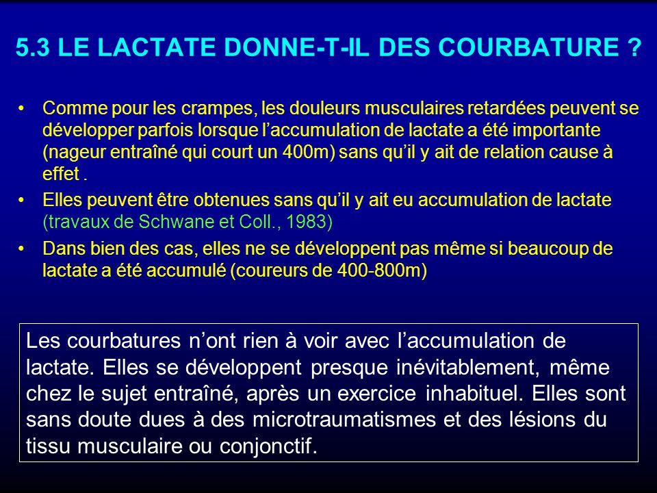 5.3 LE LACTATE DONNE-T-IL DES COURBATURE