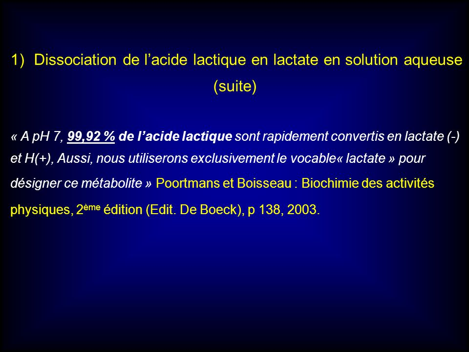 Dissociation de l'acide lactique en lactate en solution aqueuse