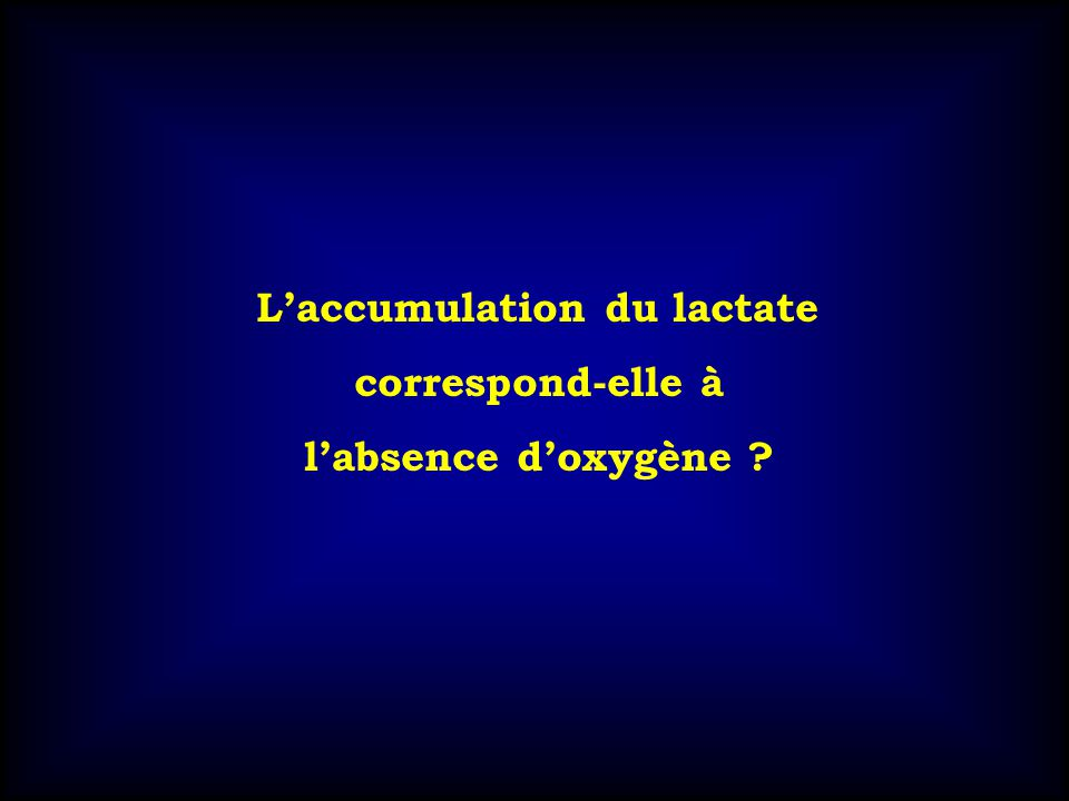 L'accumulation du lactate