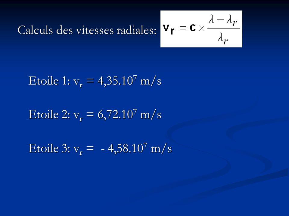Calculs des vitesses radiales: