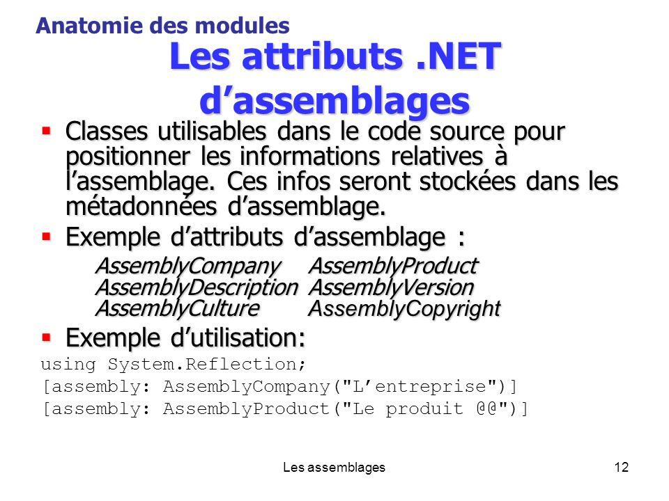 Les attributs .NET d'assemblages