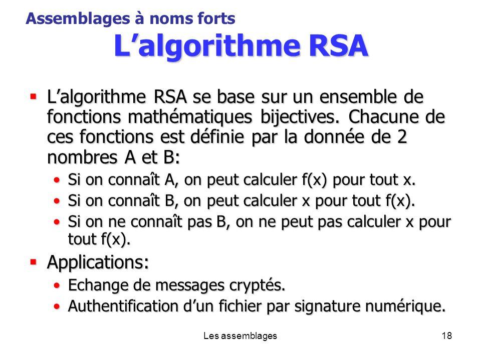 Patrick Smacchia 2003 Assemblages à noms forts. L'algorithme RSA.