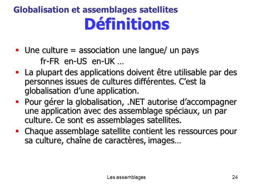 Définitions Globalisation et assemblages satellites