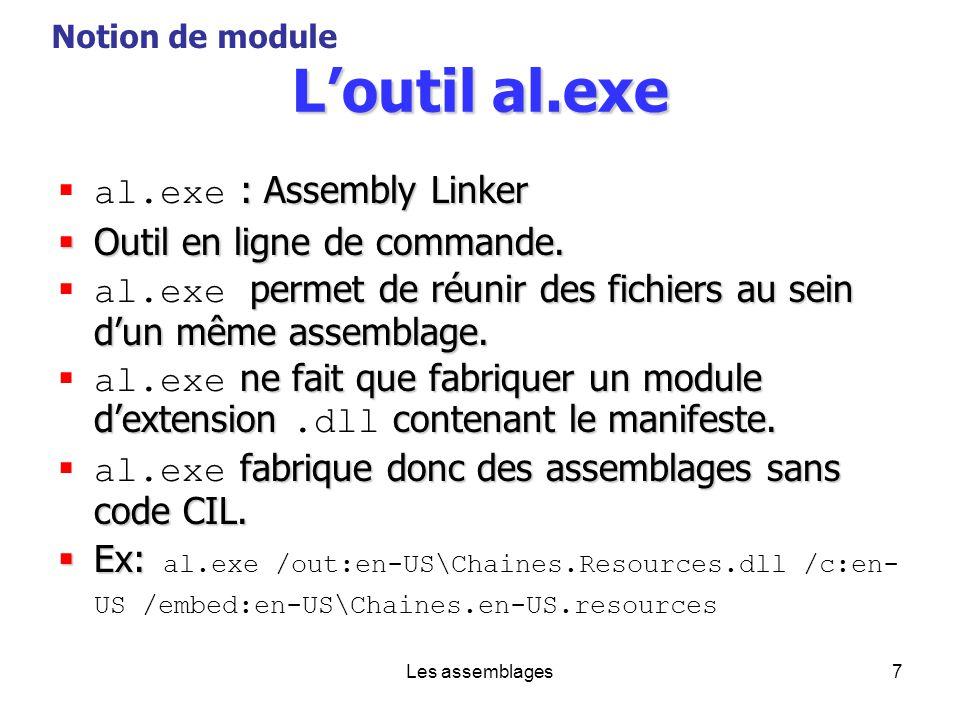 L'outil al.exe al.exe : Assembly Linker Outil en ligne de commande.